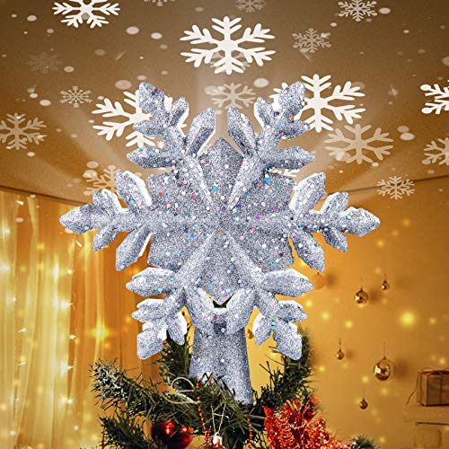 "Christmas Tree Topper Lighted with Built-in Led Rotating Snowflake Projector Lights, 9.6"" Hollowed Tree Topper with Silver Spangles Plug In for Indoor Home Xmas New Year Party Holiday Night Tree Decor"