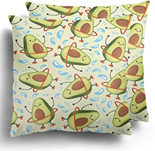 Staroapr Throw Pillow Case Covers Pack of 2 Avocado Cute Fruit Character Doing Exercises Hula Hoop Eating Polyester Cushion Pillowcase Couch Home Decor 20 x 20 Inches