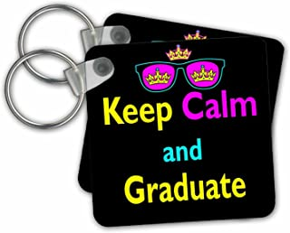 CMYK Keep Calm Parody, Keep Calm and Graduate - Key Chains, 2.25 x 2.25 inches, Set of 2 (kc_116688_1)