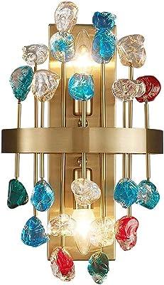 aitian Éclairage en cristal de luxe léger postmoderne pour chambre à coucher, style européen en cristal doré brossé décoration de la maison luminaires muraux en cristaux colorés, pour salle de bain sa