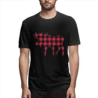 Men Buffalo Plaid Moose Lumberjack Red Cotton T-Shirts