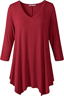 Womens Plus Size 3/4 Sleeve V Neck Flowy T Shirt Casual Swing Tunic Top