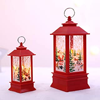 Christmas Lantern,Night Lighthouse LED Light Hanging Solar Lights Battery Operated Glitter Snow Globe Christmas Lantern Decoration Props Yard Lawn Christmas Party (Red)