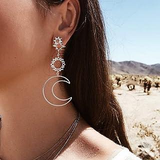 Jozape Boho Earrings Moon Flower Earrings Stud Pendant Earrings Cuff Jewelry for Women and Girls (Silver)