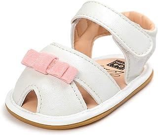 ベビーシューズ 女の子 サンダル キッズ 履きやすい マジックテープ ビーチサンダル 子供靴 夏 こども靴 柔らかい PUレザー 軽量 耐磨 靴 ベビー かわいい ファーストシューズ 6~12ヶ月 リボン 白 (12cm, ホワイト)