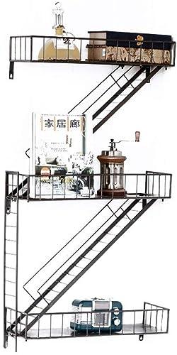 Willesego Kreative Amerikanischen Stil Franz sch Land Retro Industrielle Treppe Schmiedeeisen Regal Blaume Racks Clapboard Lagerregale Wand H en Rack (Farbe   -, Größe   -)