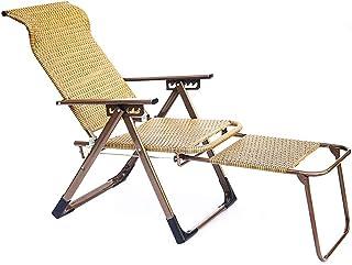 LXSEHN - Sillas de jardín para el hogar, silla de mimbre, tumbona para exteriores, silla de jardín, silla de ancianos (color: beige)