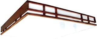 Lighting by AFX MCC2U3R8 Mission Style Wood Frame 2-32 Watt U-Bent T8, Cherry Finish with White Acrylic Diffuser
