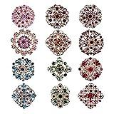 keland 12pcs Mix Set Spille di cristallo Fiore Spilla Collare Pin Corsage Bouquet Decor Lotto all'ingrosso FAI DA TE BROCCA (color)