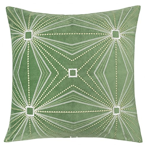 Homey Cozy Embroidery Green Velvet Throw Pillow Cover,Spring Green Series Geometric Leaf Modern Western Decorative Sofa Couch Pillow Case 20x20,Cover Only