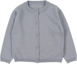 BINPAW Little Girl's Basic Crew Neck Solid Knit Cardigan Sweaters, 12 Months-6 Years