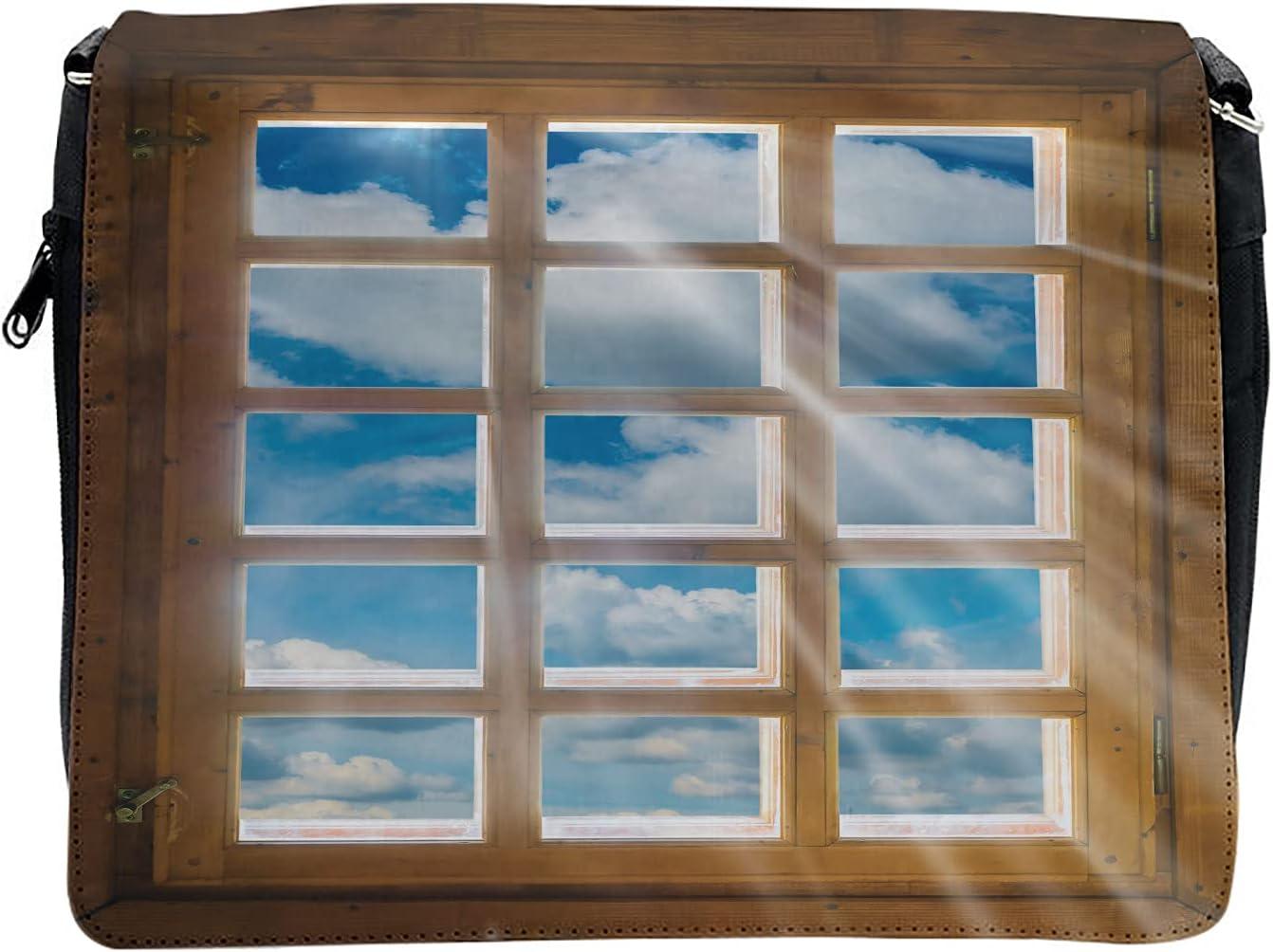 Ambesonne Rustic Cross Body Messenger Bag, Window with Sunbeams, Unisex