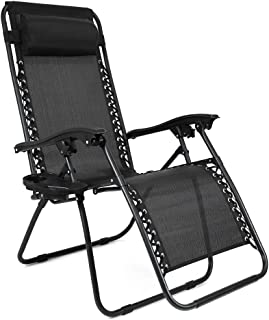 Niceway Zero Gravity Chair Lounge Chaise Reclining Lawn Chairs Black