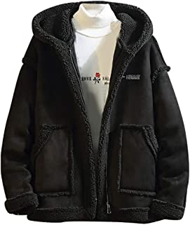 OMINA Men Teddy Bear Jacket with Hood, Winter Casual Warm Windproof Loose Fit Fur Coat Black