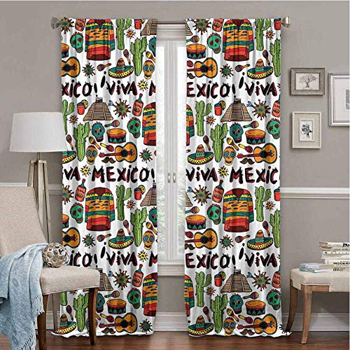 Noise Reduction Curtains Mexican Decorations Viva Mexico with Native Elements Poncho Tequila Salsa Hot Peppers Image Multi 63x45 Inch