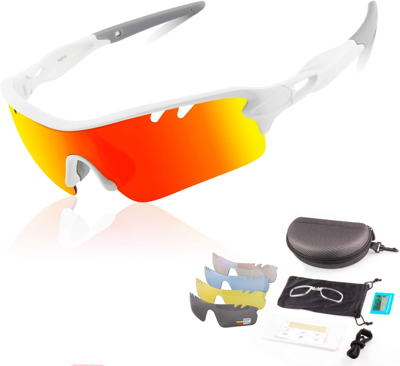 DUDUKING Gafas Sol Polarizadas Hombre Mujer Gafas de Sol Deportivas UV 400 Protección Gafas con 3 o 5 Rodajas De Lentes Intercambiables para Ciclismo Correr Golf Beisbol Surf Conducción Esquiando