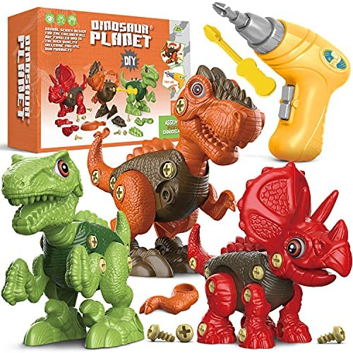 Fundia Toys for 3 4 5 6 7 8 Year Old Boys, Dinosaur Toys for Kids 3-5 5-7, Take Apart Toys Stem Construction Building Toys Kids Toys with Electric Drill, Birthday Gifts for Boys and Girls