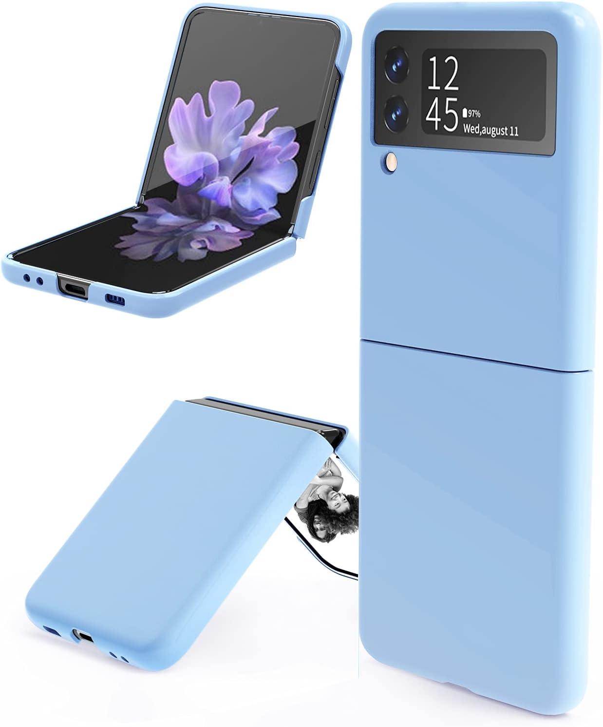 leChivée for Samsung Galaxy Z Flip 3 5G Case, Slim Durable Galaxy Z Flip 3 Phone Case Anti-Drop Wear-Resistant Hard PC Protective Cover for Samsung Z Flip 3 5G (Blue)