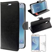 ebestStar - Coque Compatible avec Samsung J3 2017 Galaxy SM-J330F Etui PU Cuir Housse Portefeuille Porte-Cartes Support, Noir +Film Protection Verre Trempé [Appareil: 143.2 x 70.3 x 7.9mm, 5.0'']