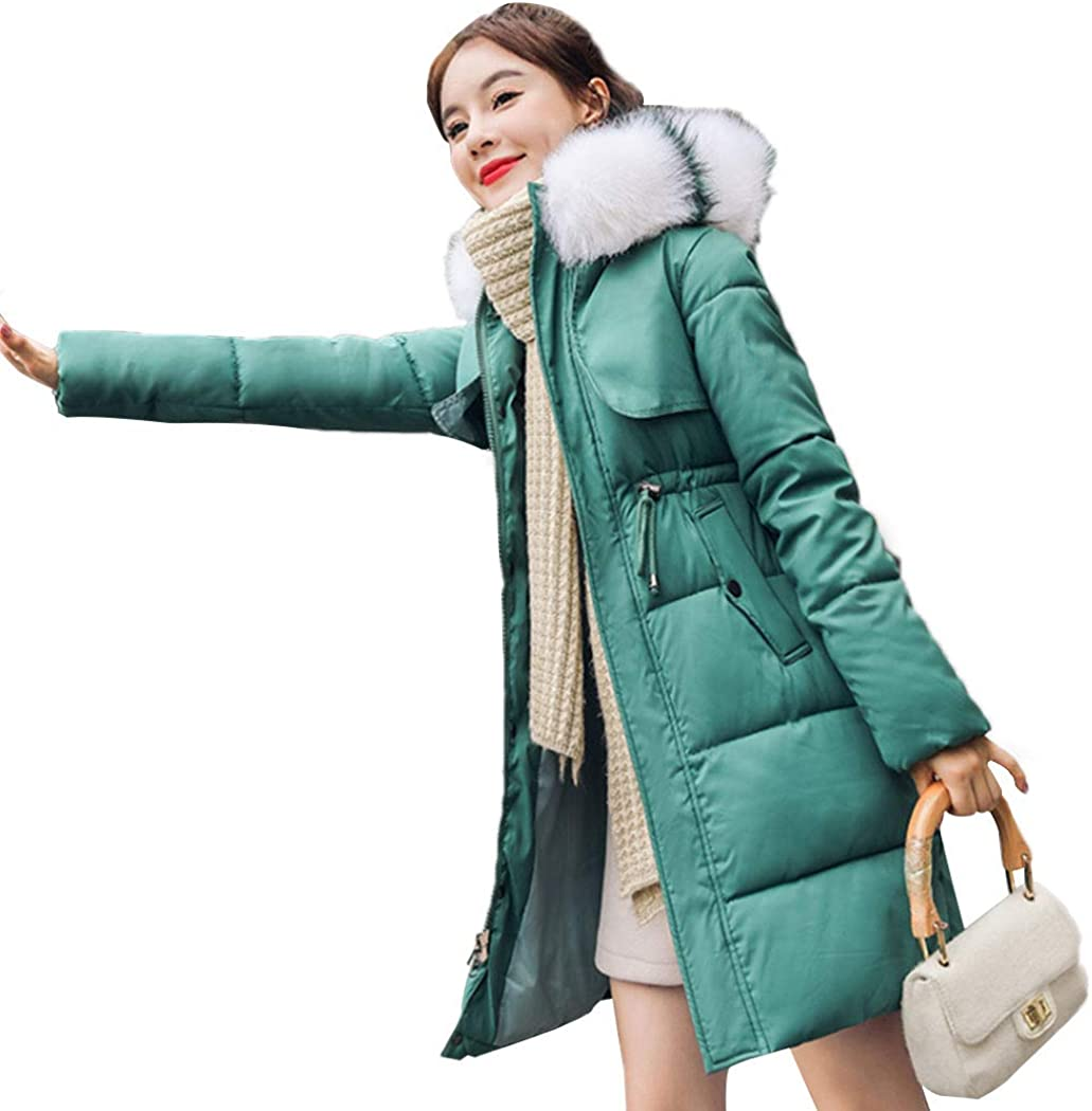 sale Women's Topics on TV Winter Coat with Faux Thicken Down Slim Hood Fur
