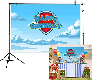 Allenjoy 7x5ft Cartoon Happy Birthday Backdrop Blue Sky and White Clouds Anime Shield Dog Paw Pet Theme Photography Background Children Party Cake Table Banner Decoration Photo Booth Studio Props