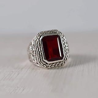 P /& S Handmade 925 Sterling Silver Patterned Garnet  Stone Ring Size M N
