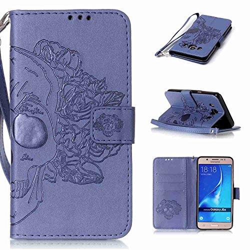 pinlu Schutzhülle Für Samsung Galaxy J5 (2016 Version, 5.2 Zoll) J510 Handyhülle Hohe Qualität PU Ledertasche Brieftasche Mit Stand Function Innenschlitzen Doppelt Geprägt Schädel Design Blau