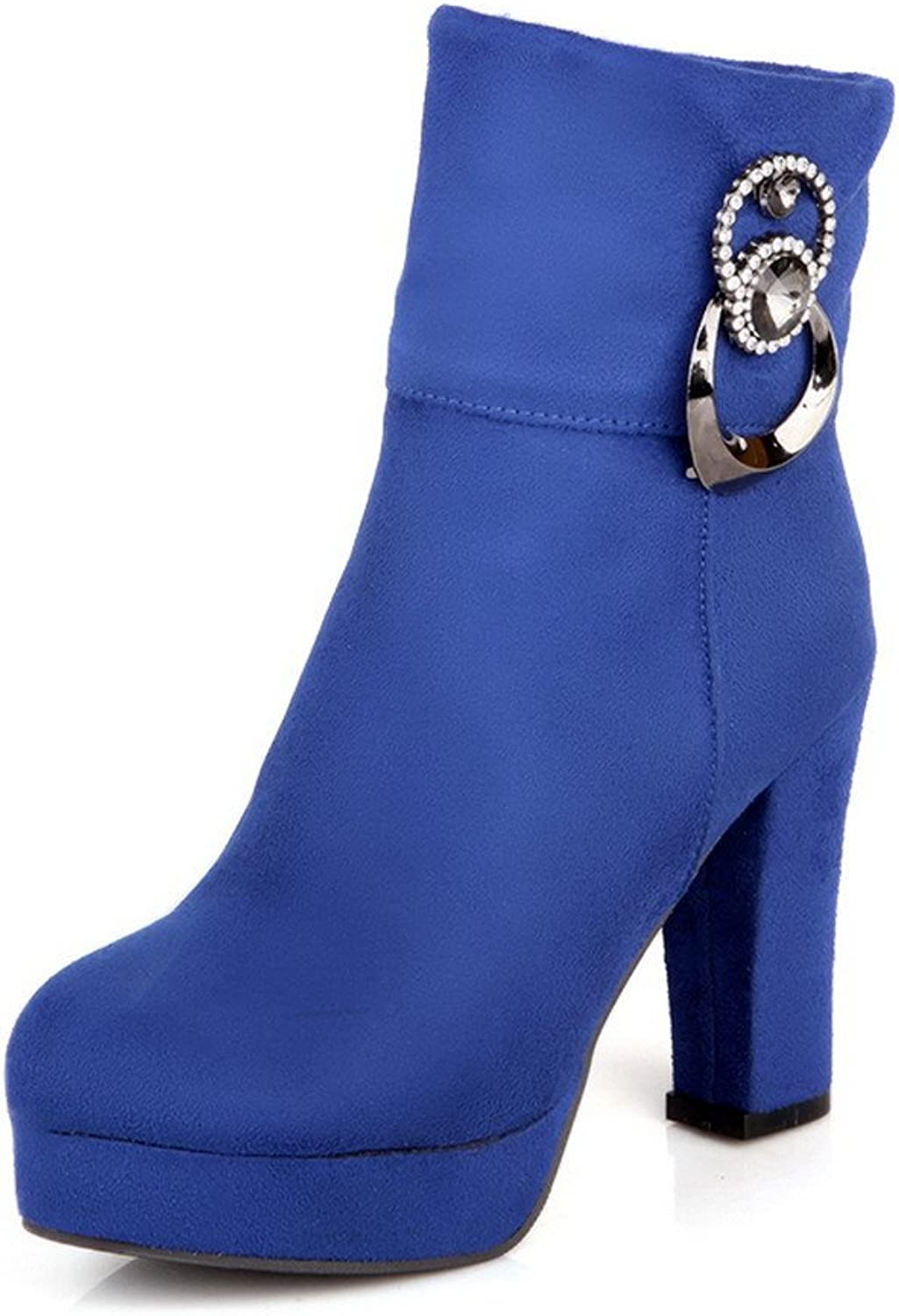 AllhqFashion Women's Solid Round-Toe Frosted PU Low-Top Boots