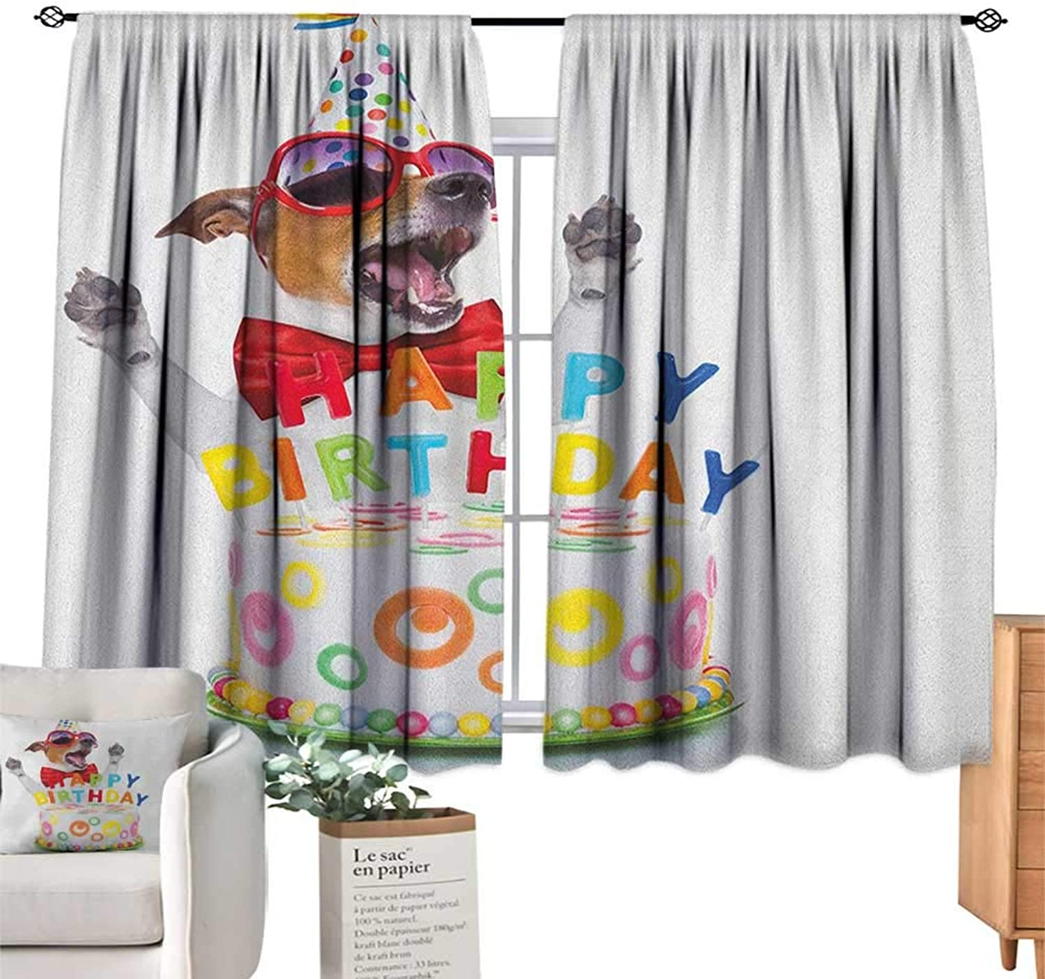 Familytaste Kids Birthday,Blackout Curtains Party Dog at Suprise Birthday Party with Cone Hat and Glasses Photograph Fun Indoor Wall Curtain Decorations W63 x L45