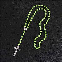 ファッションピュアカラー宗教クロスペンダントロングネックレスヴィンテージロザリオクリスチャン手作りジュエリーギフト長さ90cm
