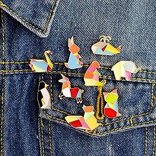 9PCS/Set swan Fox Elephant Cat Penguin Squirrel Origami Animal pin Set Badges Hard Enamel pins Brooch Animal Jewelry