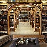 PSiFound® Fototapete 3D Effekt Retro Bibliothek