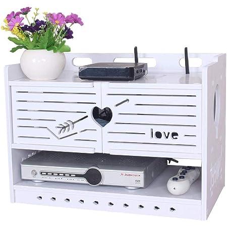 Estante flotante Estante para televisor Estante de almacenamiento en la pared Caja de almacenamiento de enrutador Wifi inalámbrico de madera maciza sin perforaciones en la pared Dormitorio de la sala