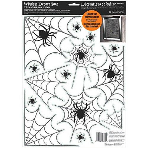 Amscan 248600 Vinyl Spider Web raamdecoratie, 43 x 30,4 cm
