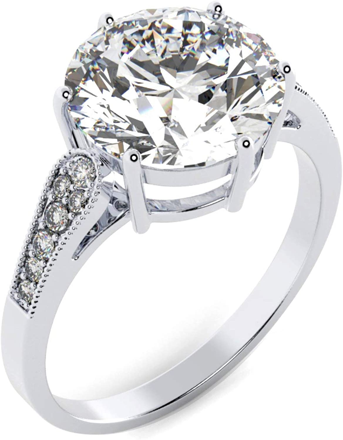 Sales Moissanite Engagement Ring New item in 6-Prong with 3.65ct 10m Solitaire
