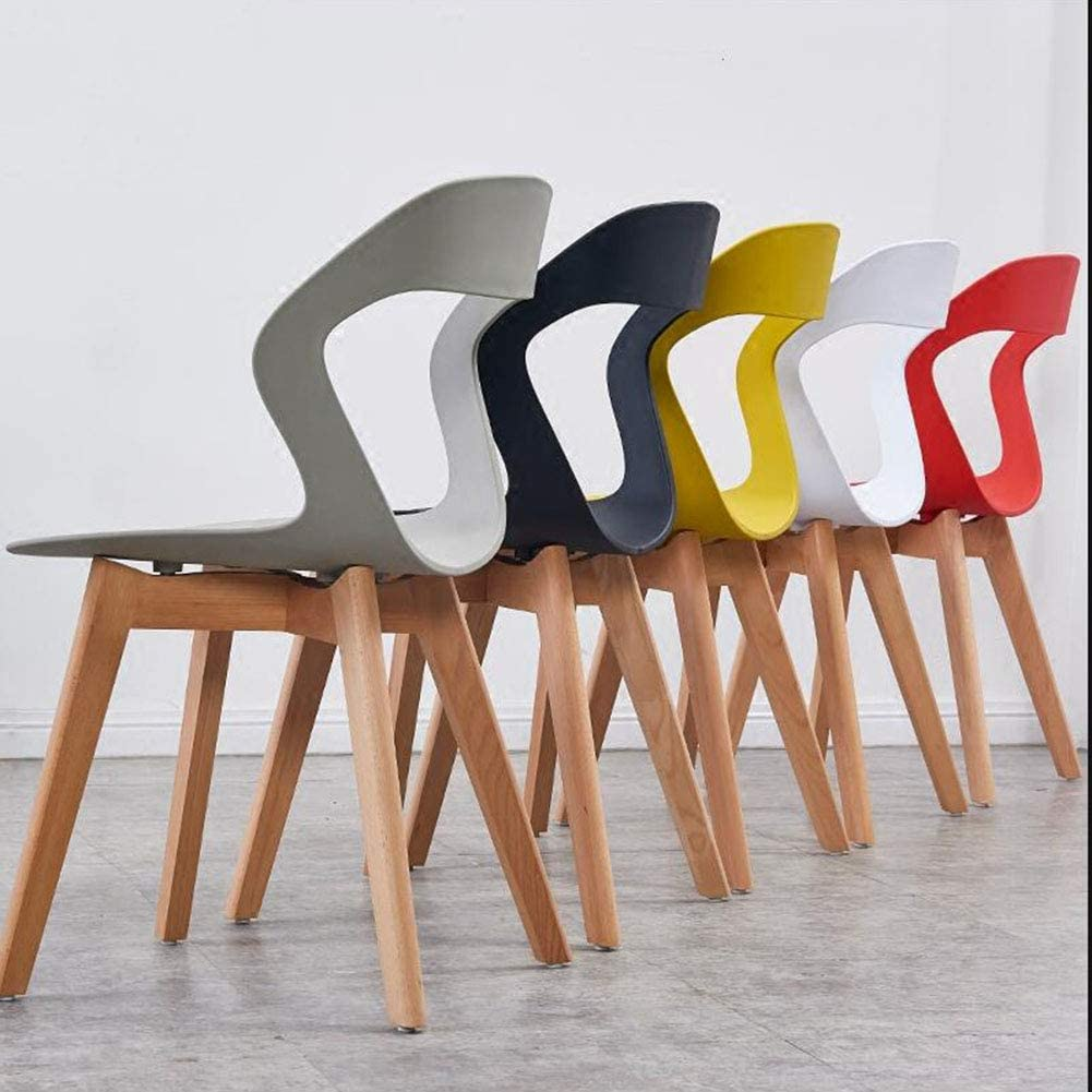 Chaise De Salle à Manger Design Moderne Siège en Plastique Pieds en Bois Chaises De Table Nordiques pour Salon/Bureau/Salon 42x54x79 Cm(Color:Rouge) Noir