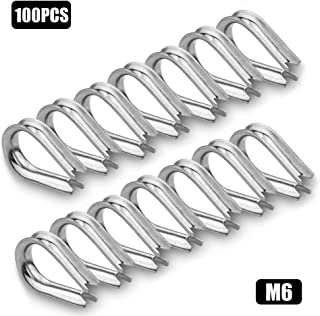 ORIGA 100 Pcs M6 Thimble for 3/16 Steel Wire Rope Cable, 304 Stainless Steel Rope Thimble Rigging