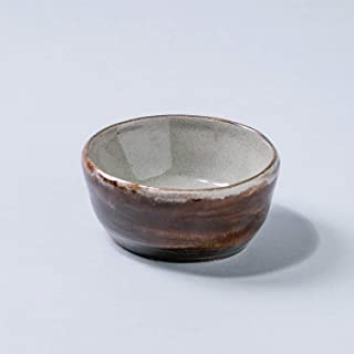 Cuenco de cerámica rústico rústico hecho a mano para el hogar Decoración para el hogar esmalte marrón gris texturizado