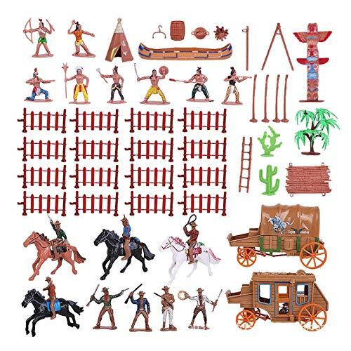 SM SunniMix 1 Juego de Figuras de plástico de Vaqueros e Indios Figuras nativas Americanas Miniatura Caja de Arena Decoración Juguetes Educativos Regalos