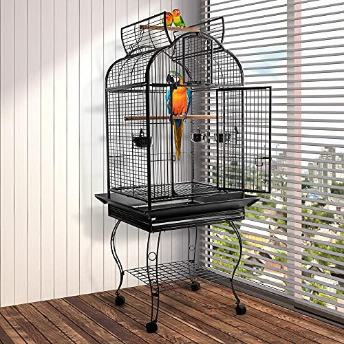 Pawhut Jaula de Pájaros Pajarera Metálica para Aves con 2 Puertas Perchas y Rejilla Deslizable Bandeja Extraíble 4 Ruedas 75x69x159 cm Gris Oscuro