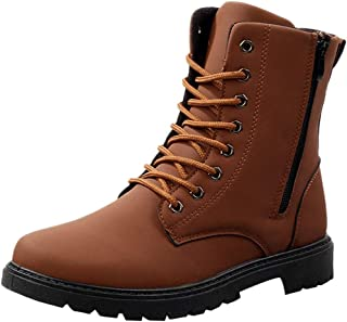 Mens Martin Bootie,Men Snow Winter Outdoor Lace-Up British Style (Color : Yellow, Size : 8 UK)