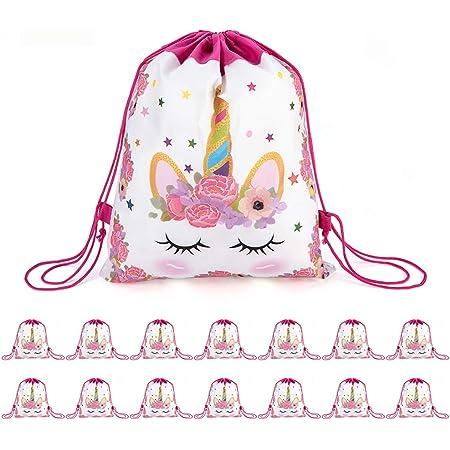 CNNIK 16 Pcs Unicorn Drawstring Party Bags Gift Bags Unicorn Theme Party Party