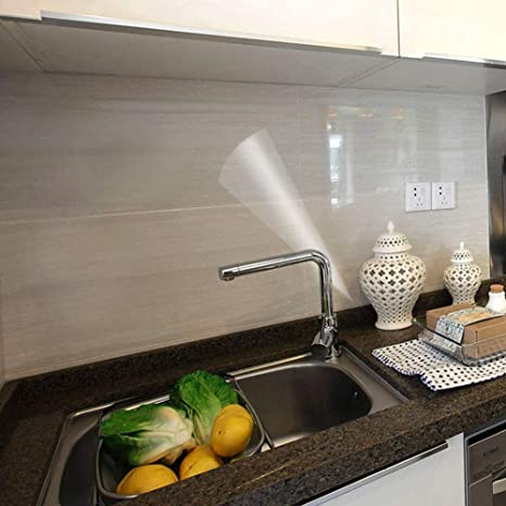 Amazon Com Clear Wallpaper Kitchen Oil Proof Waterproof Sticker Self Adhesive Vinyl Film High Temperature Resistant Transparent Paper Removable Paper For Cupboard Doors Walls Kitchen 11 8in118in