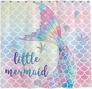 Allenjoy 72x72 inch Mermaid Shower Curtain Set with 12 Hooks Pink Mermaid Scales Tail Bathroom Curtains Durable Waterproof Fabric Bathtub Sets Home Decor