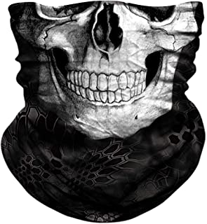 JOEYOUNG Skull Face Mask - UV Sun Mask Dust Wind Neck Gaiter, Half Face Mask for Motorcycle Riding Skeleton Bandana, Seamless Headwear Tube Mask for Fishing Hunting Cycling Men Women