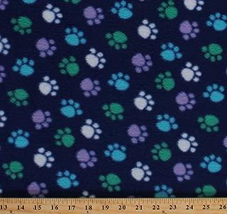 purple paw print fabric