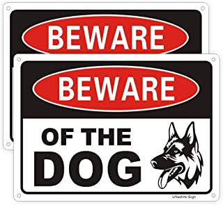 Uflashmi Beware of Dog Sign for Fence Yard, Dog Warning Sign, Aluminum Metal, 2 Pack, 7x10 inch