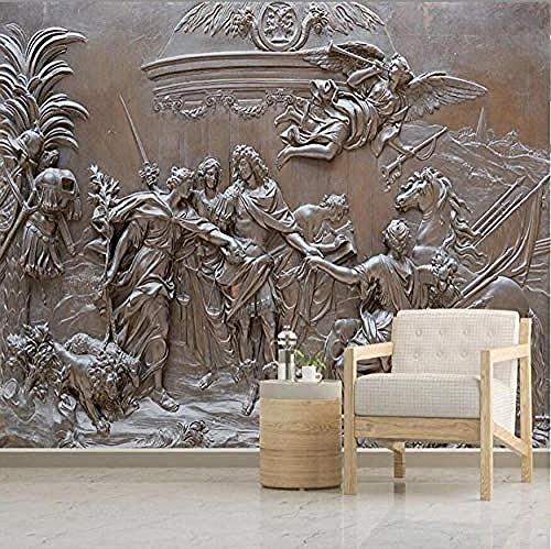 ZZXIAO Estilo europeo 3D Relief Angel War Figure Wallpaper Estudio Creativo Retro Decoración para el hogar Murales fotográ Decoración Fotomural sala Pared Pintado Papel tapiz no tejido-350cm×256cm