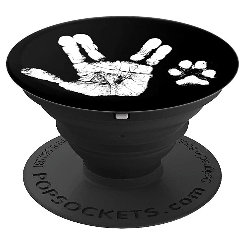 Hand & Paw Print - Animal Lover - Prosper & Live Long - PopSockets Grip and Stand for Phones and Tablets