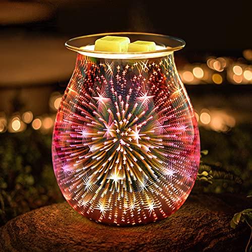 Jumkeet Star Duftlampen, 3D Elektrische Glas Aroma Lampe, Ölbrenner Wachs Schmelzbrenner Wärmer Kerzenölbrenner, Nachtlicht dekorative Lampe für Home Office Schlafzimmer Wohnzimmer Geschenk